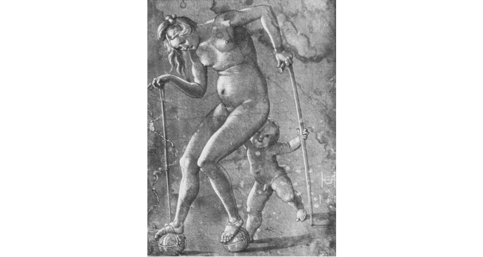 Nude Woman Walking on Balls by Hans Baldung-Grien